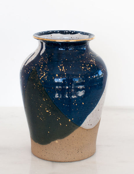 Stoneware Vase in Navy and Gold #24