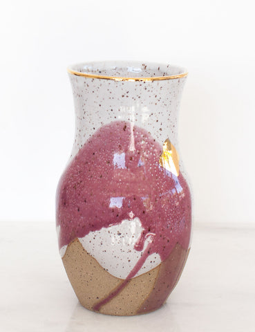Stoneware Vase in Fig and Gold Brushstroke #27