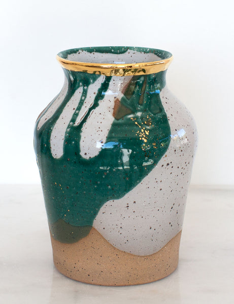 Stoneware Vase in Emerald and Gold #28