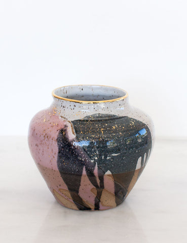 Stoneware Vase in Rose and Charcoal Watercolor with Gold #29
