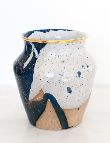 Stoneware Vase in Navy and Gold #2