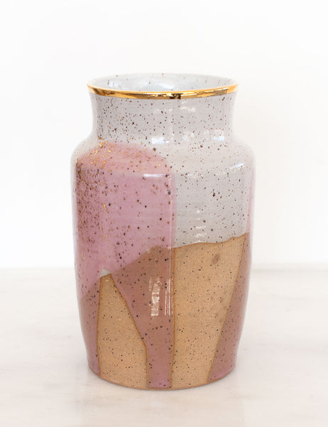 Stoneware Vase in Rose and Gold #3