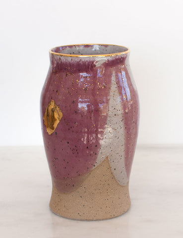 Stoneware Vase in Fig and Gold #4