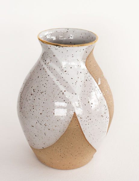 Stoneware Vase in White and Gold Splatter #5