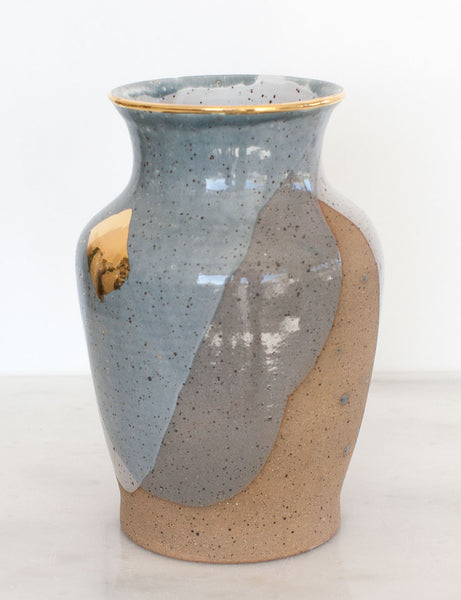 Stoneware Vase in Pewter and Gold Brushstroke #6