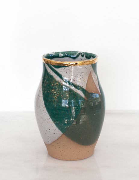 Stoneware Vase in Emerald and Gold #7