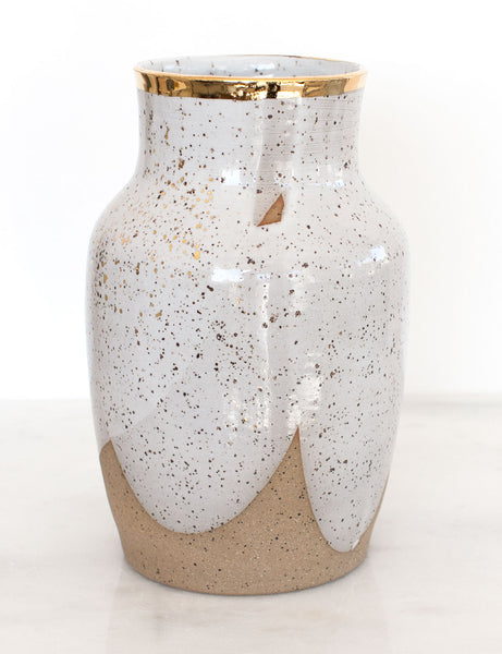Stoneware Vase in White with Gold Rim #8