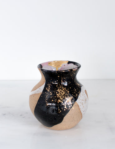 Artist Original: Stoneware Small Vase Rose Black and White with 22k Gold