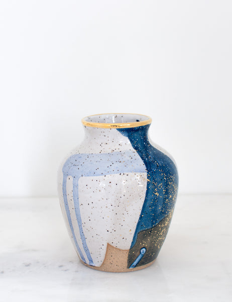Artist Original: Stoneware Small Vase in Blue Watercolor with 22k Gold