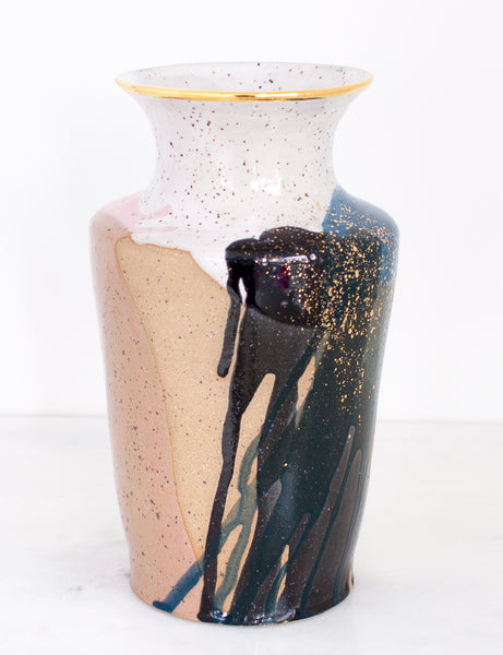 Artist Original: Stoneware Vase in White Rose Navy and 22k Gold