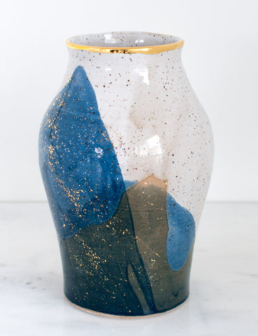 Artist Original: Stoneware Large Vase in White Navy and 22k Gold