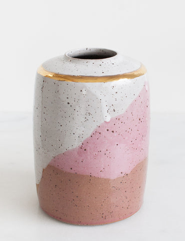 Stoneware Modern Vessel in White, Rose and Gold