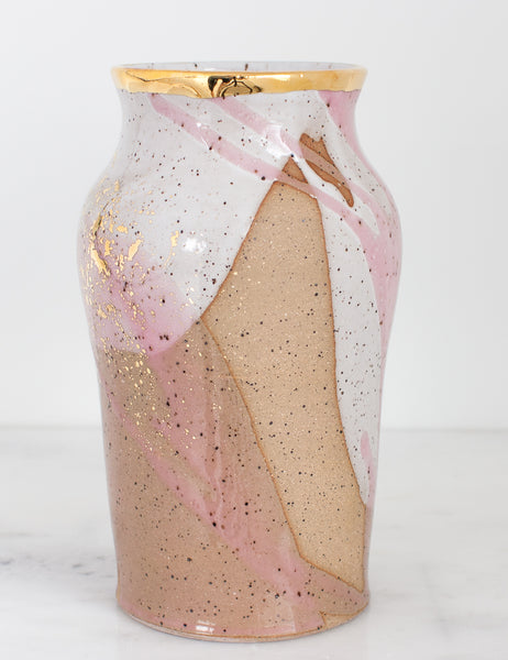 Artist Original: Stoneware Vase in White and Rose with 22k Gold Splatters