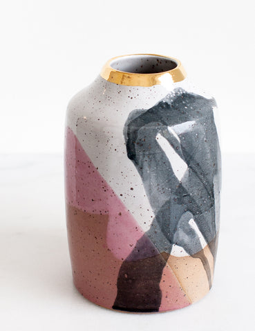 Stoneware Modern Vessel in White, Charcoal, Rose and Gold