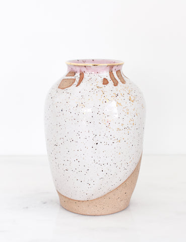 Artist Original: Stoneware Vase in White Rose and 22k Gold