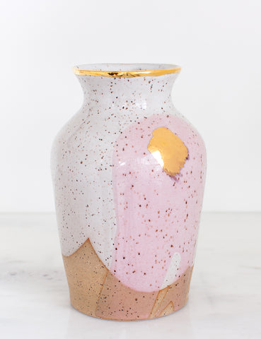 Artist Original: Stoneware Vase in White and Rose with 22k Gold Brushstroke