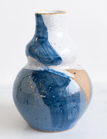 Stoneware Curvy Vessel in White, Watercolor Blues and Gold