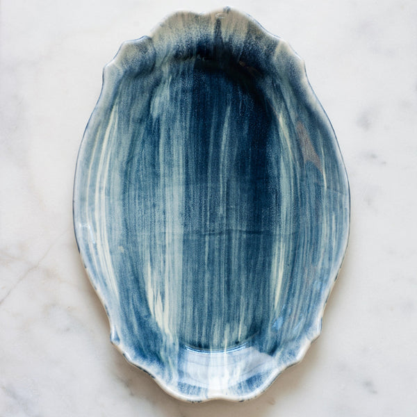 Sample Baroque Platter in Full Navy Brushstroke