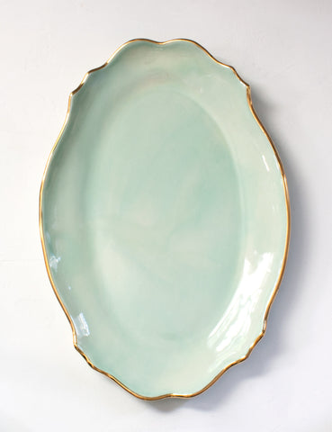 Baroque Platter in Mint with Gold Rim