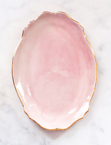 Baroque Platter in Rose with Gold Rim