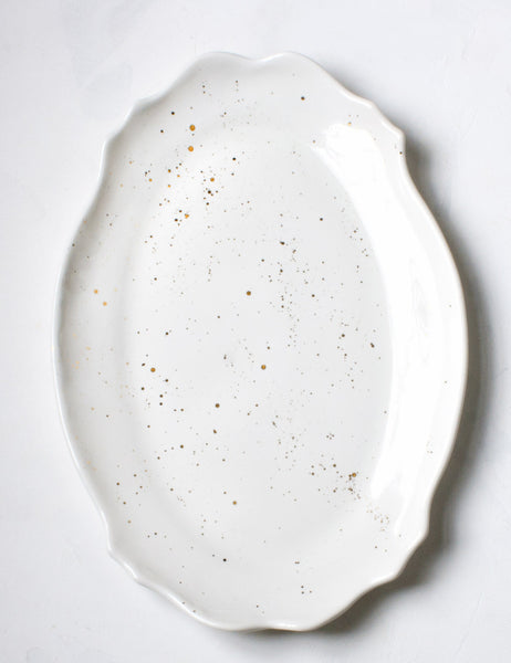 Pre-Order: Baroque Platter in White with Gold Splatters