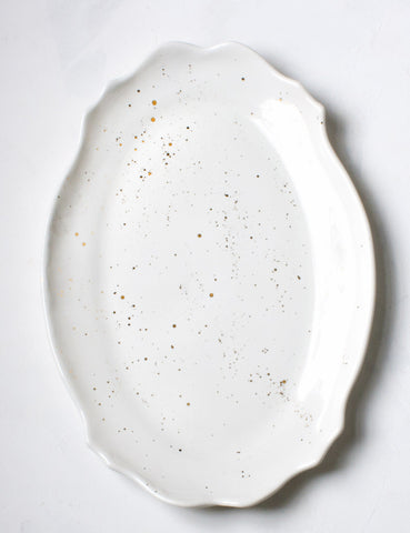 Baroque Platter in White with Gold Splatters