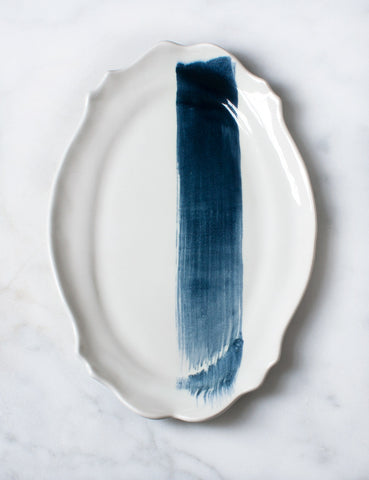 Baroque Platter with Navy Watercolor Brushstroke