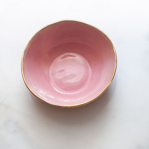 Bowl in Bright Rose with Gold Rim