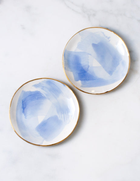 Seconds Dessert Plates in Chambray Brushstroke with Gold Rim (set of two)