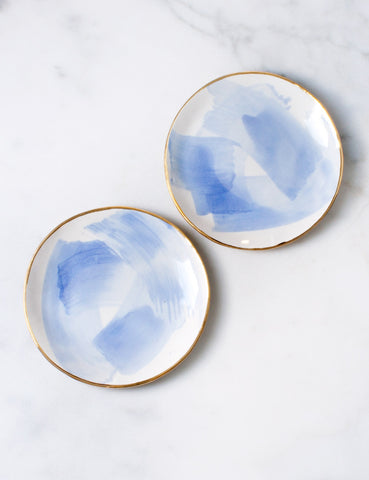 Dessert Plates in Chambray Brushstroke (set of two)