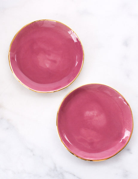 Limited Edition: Dessert Plates in Amaranth with Gold Rim