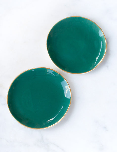 Dessert Plates in Agave with Gold Rim (set of two)
