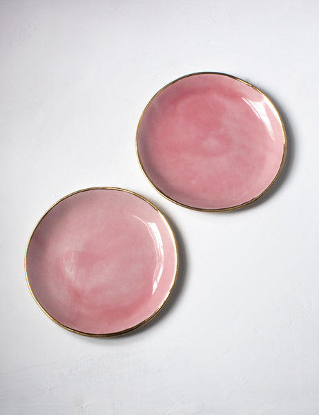 Dessert Plate in Bright Rose with Gold Rim (set of two)