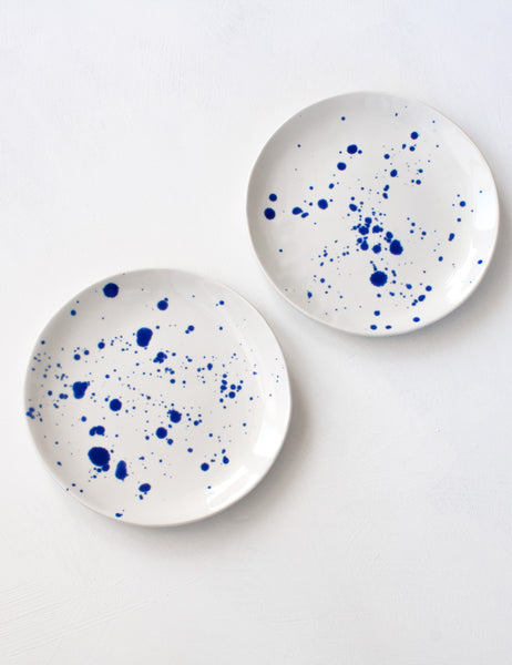 Dessert Plates in Cobalt Splatter (set of two)
