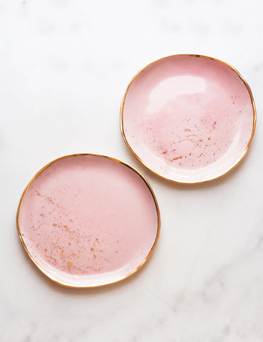 Dessert Plates in Rose with Gold Splatter (set of two)