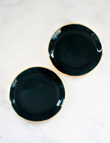Dessert Plates in Tourmaline with Gold Rim (set of two)