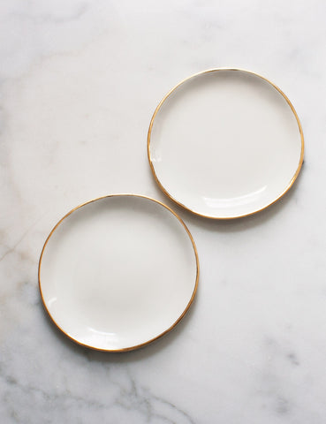 Pre-Order: Dessert Plates in White and Gold (set of two)