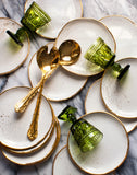 Seconds Dessert Plates in White with Gold Splatters (set of two)