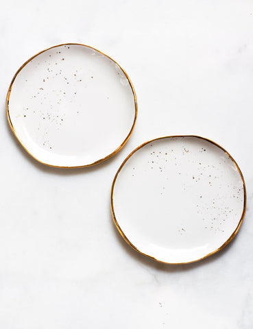Dessert Plates in White with Gold Splatter (set of two)