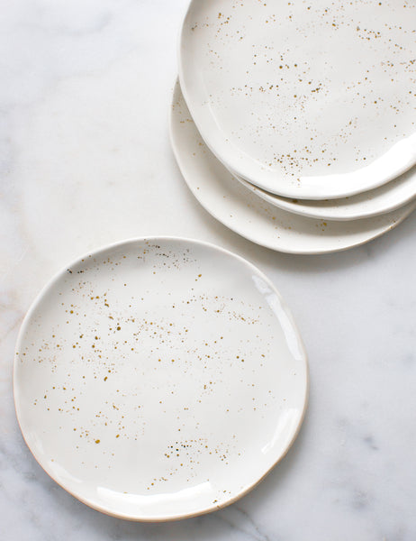 Seconds Dinner Plates in White with Gold Splatters (Set of Four)