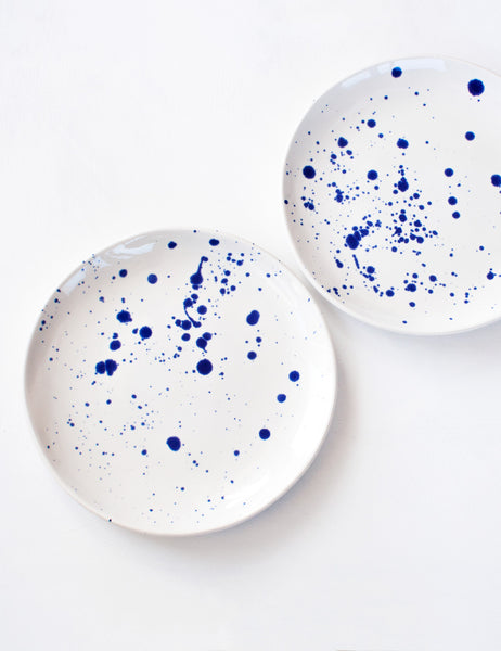 Dinner Plates in Cobalt Splatter (set of four)