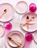 Made to Order: Dinner Plates in Rose with Gold Splatters (Set of Four)