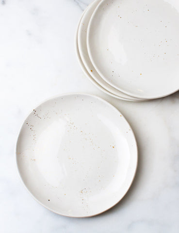 Made to Order: Dinner Plates in White with Gold Splatters (Set of Four)
