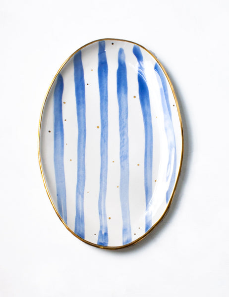 Ellipse Platter in Chambray Watercolor Stripes and Gold Dots