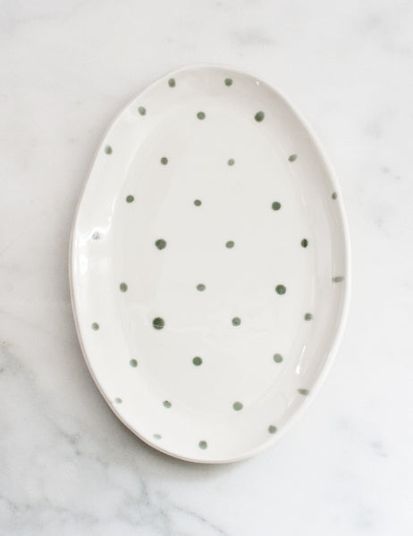 Sample Ellipse Platter in Sage Gray Polka Dot