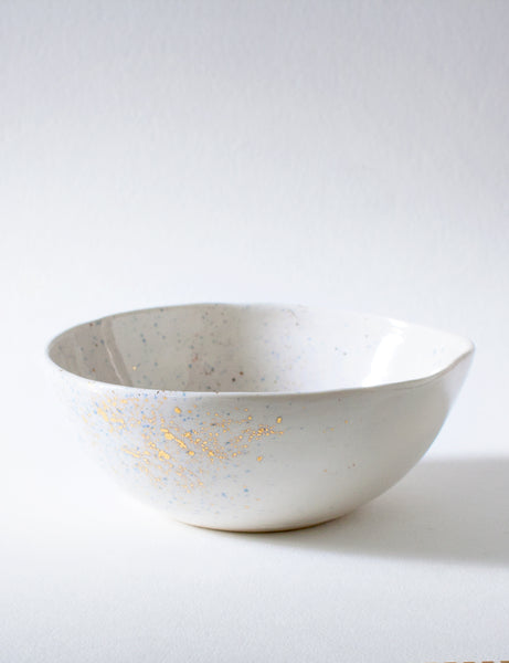 Everyday Bowl in White with Navy and Gold Splatters