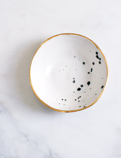 Everyday Bowl in White with Patent Black Splatters Sample