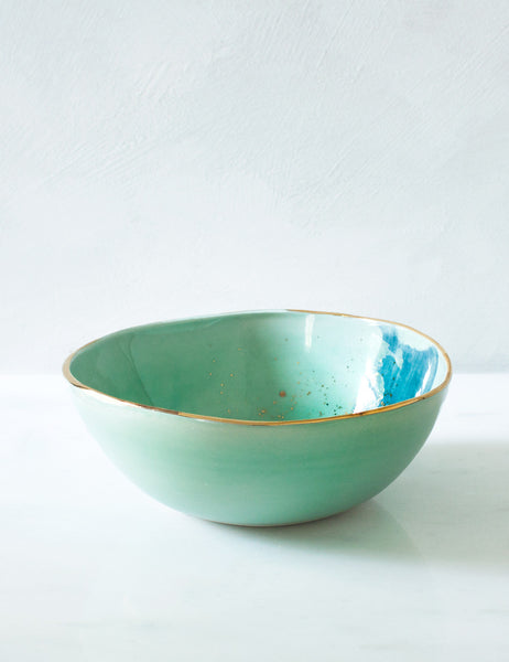 Everyday Bowl in Mint with Teal and Gold Sample