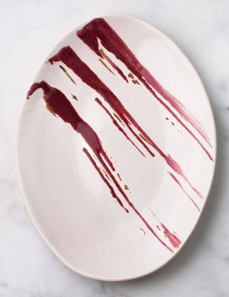 Oval Platter with Rhubarb and Gold Brushstrokes