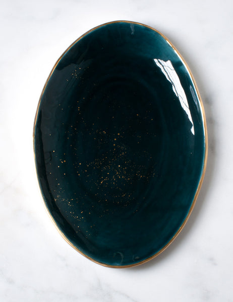 Oval Serving Platter in Tourmaline with Gold Splatters